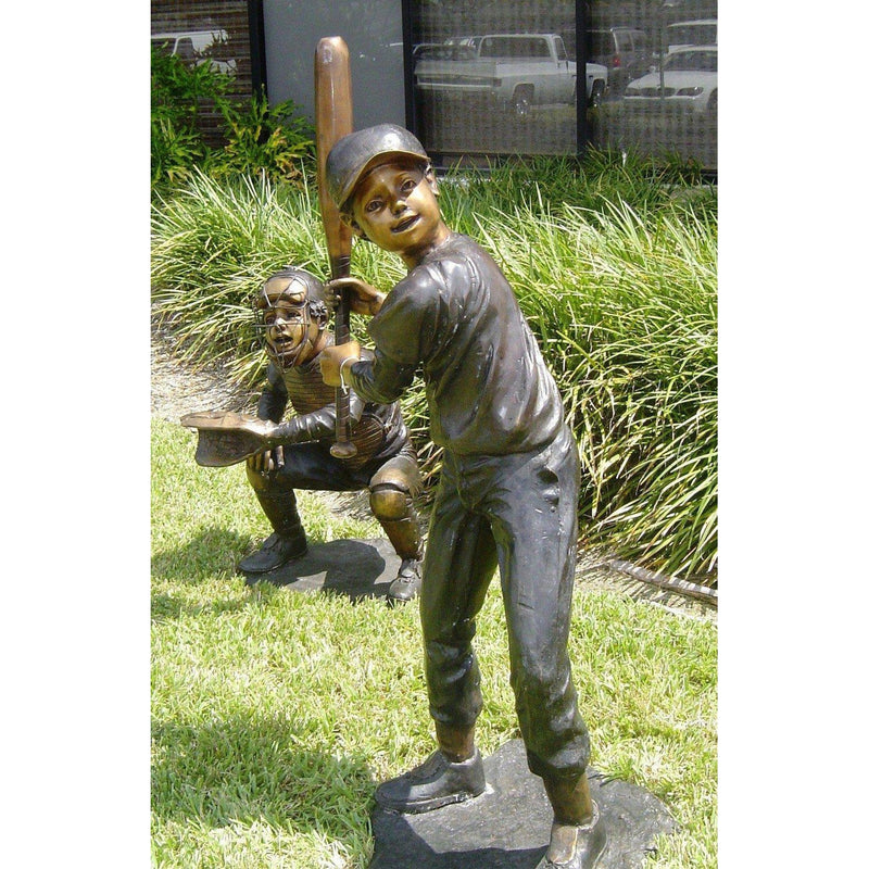 Bronze Statue of Boy Baseball Batter