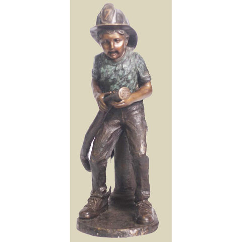 Bronze Statue of fireman in training