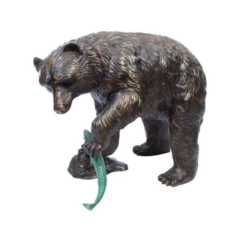 Bronze Statue of a Small Bear catching a fish