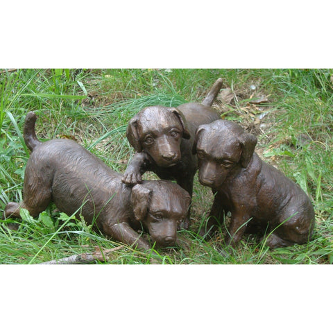 Bronze Dog Statue of Three Puppies Playing