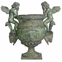 Double Cupid Rams Head Urn