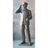 Custom Bronze Sculpture of a Train Conductor with Mother and Child