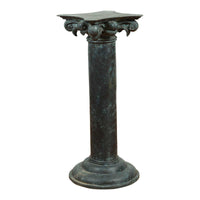 Greco Roman Inspired Vintage Bronze Pedestal Base with Composite Style Capital