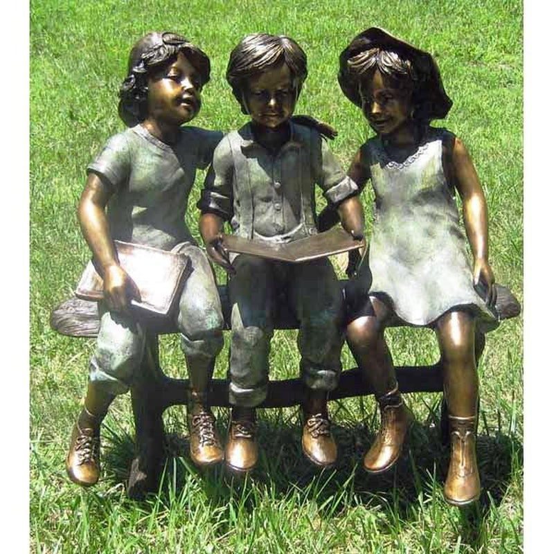 Three Children on Bench Bronze Statue