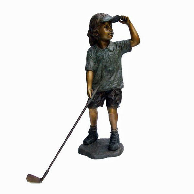 Bronze Statue of a Girl Playing Golf