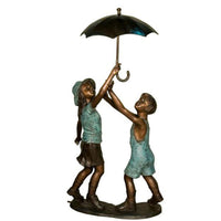 Boy and Girl under an Umbrella Fountain
