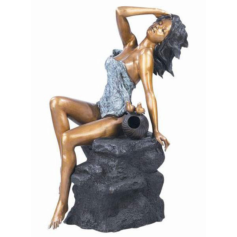 Classsic Sexy Lady Sunbathing on Rock Bronze Fountain and Sculpture