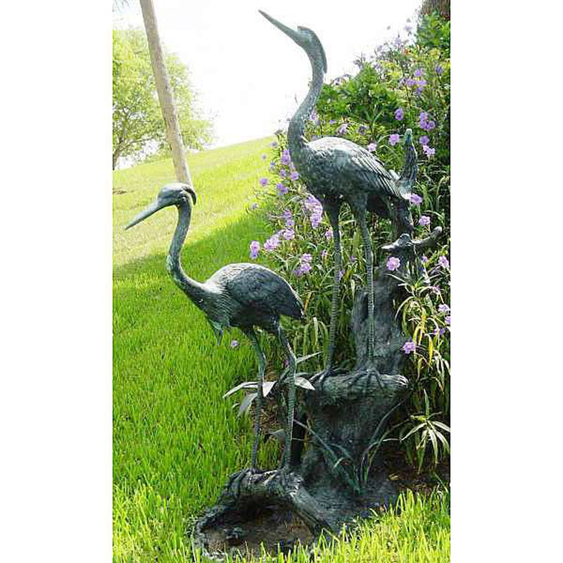 Bronze Cranes/Herons on Island Fountain