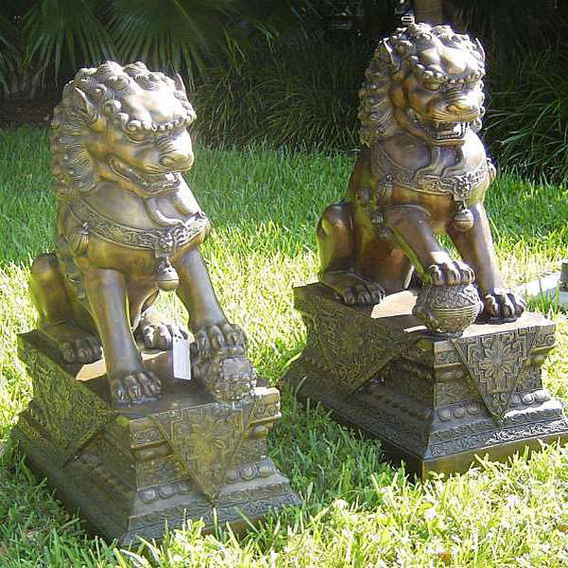 Bronze Statue of Chinese Guardian Lions - Foo Dogs