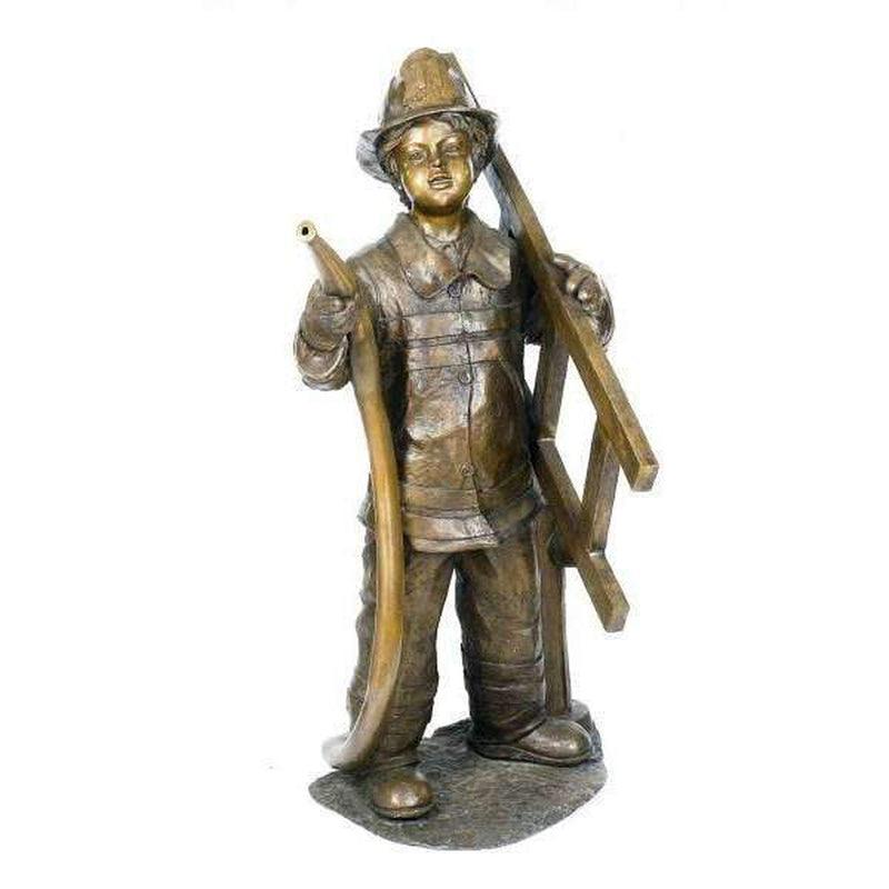 Bronze Statue of a Young Boy Fireman - Fountain