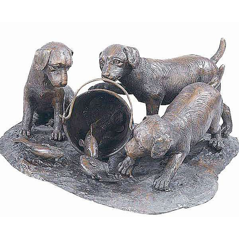 Bronze Statue of Puppy Dogs Knocking over a pail