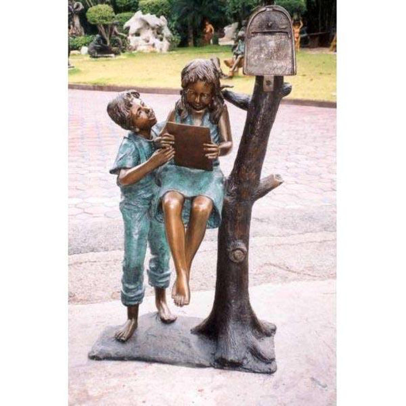 Letter from Grandma - Children on Mailbox-Bronze Statue of Children Reading-Randolph Rose Collection-RG692