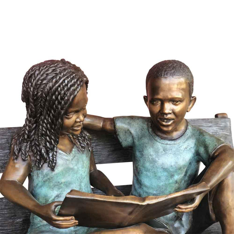 Story Time - African American Children Sitting on Bench-Bronze Children Garden Statues-Randolph Rose Collection-RG1570