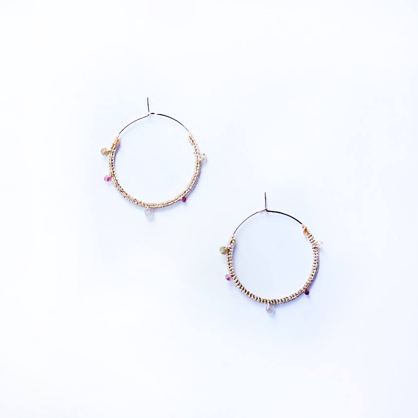 ニットフープピアス Knitting Multi Stone Hoop Earrings