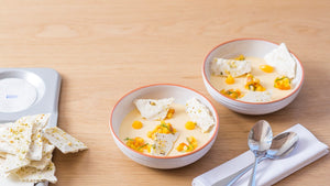 lemon posset with peach and salsa
