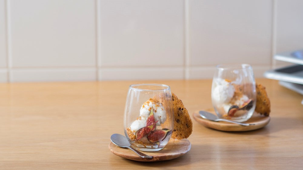 Cognac marinated figs with almond tuile