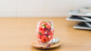 Watermelon, cherries and fresh coconut