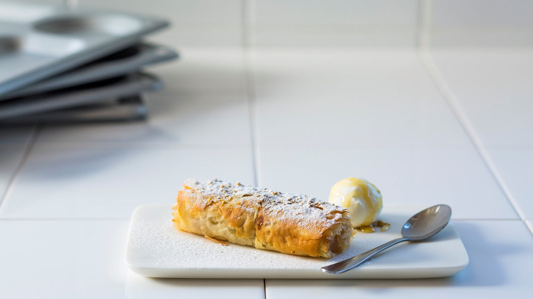 Apple and pecan strudel