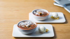 Smoky quince pudding