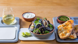 COCONUT AND LEMONGRASS WOOD ROAST MUSSELS