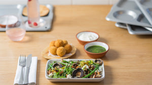 PEA AND FIOR DI LATTE ARANCINI WITH  WOOD ROAST MUSHROOMS