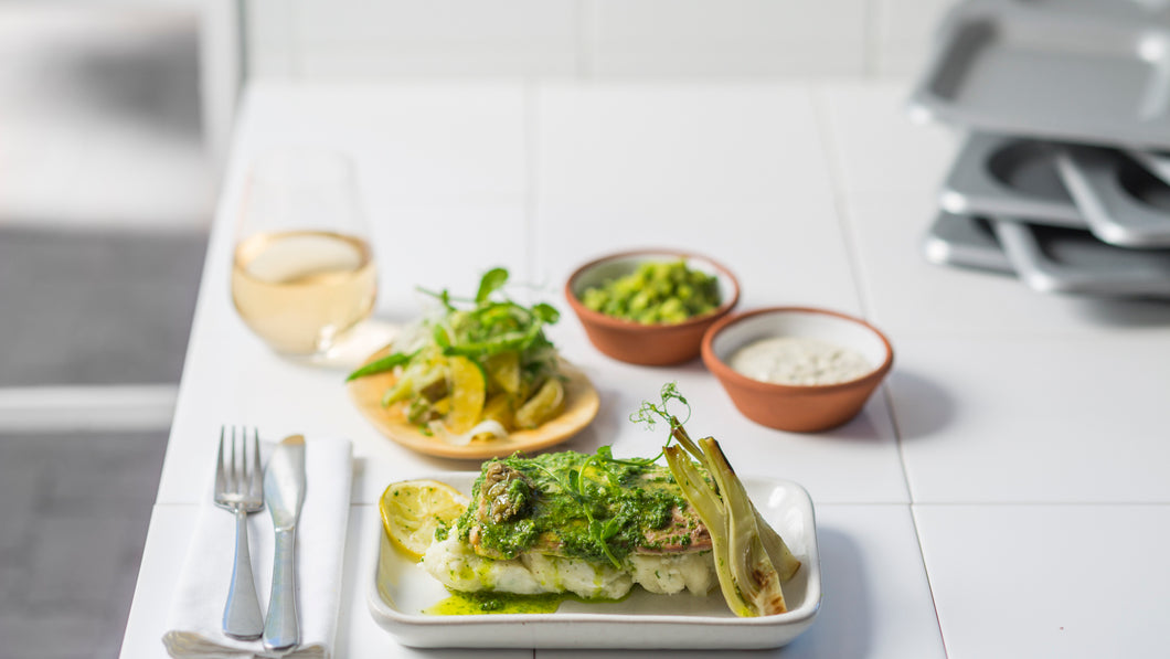 HERB, LIME AND CAPER CRUSTED LINEFISH