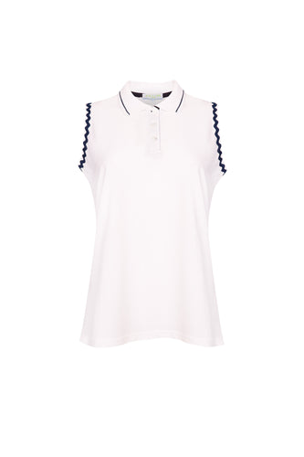 Sleeveless Polo with Navy Ric Rac Trim