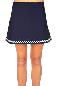 Navy Tennis Skort with Pale Blue Ric Rac Trim