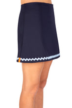 Load image into Gallery viewer, Navy Tennis Skort with Pale Blue Ric Rac Trim