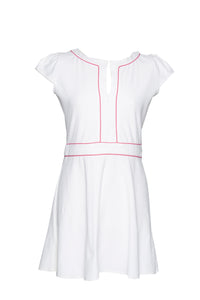 Honeycomb tennis dress with pink piping