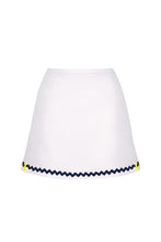 Load image into Gallery viewer, White Tennis Skort in Navy Ric Rac Trim