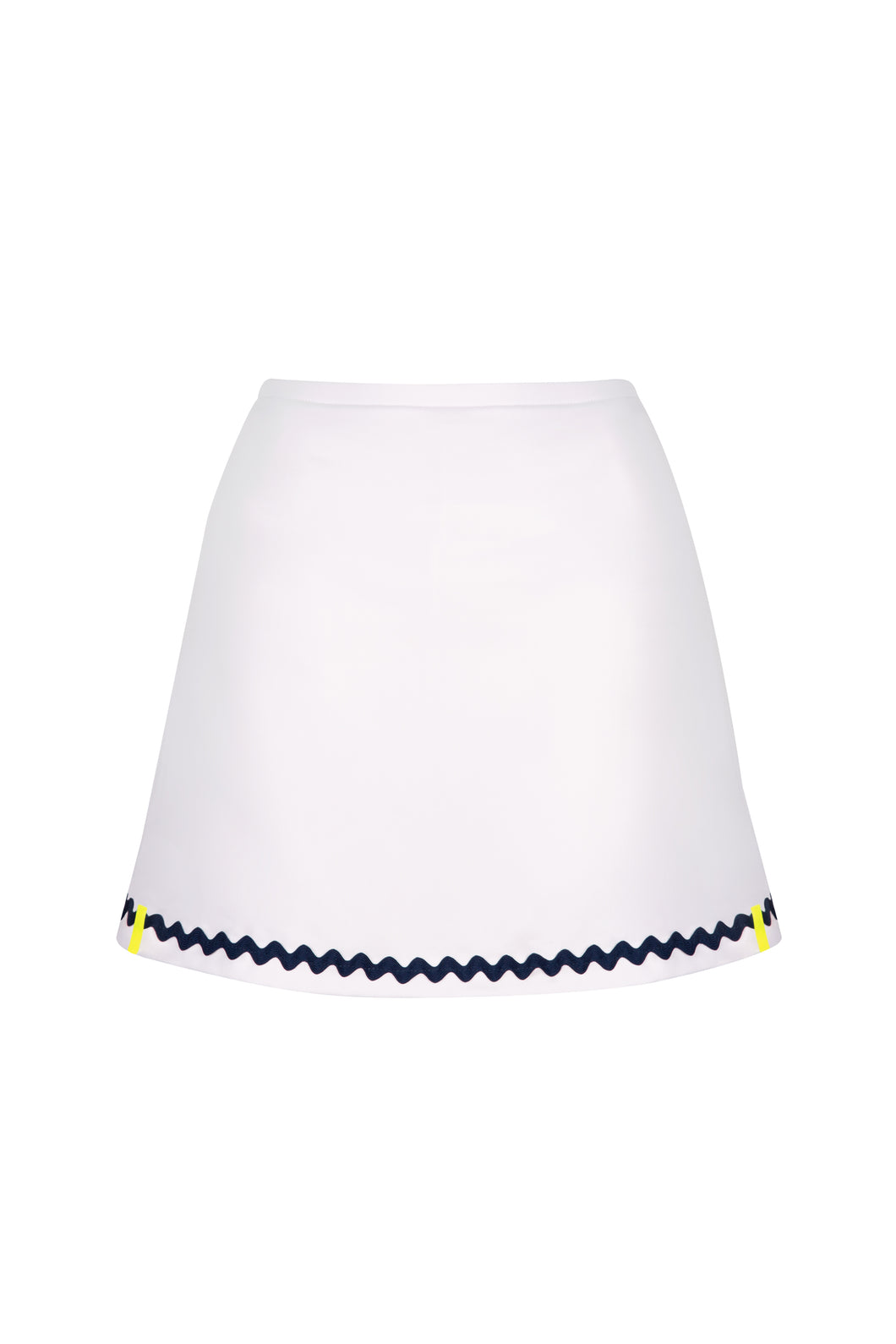 White Tennis Skort in Navy Ric Rac Trim