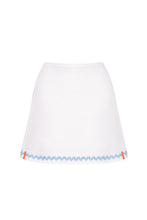 Load image into Gallery viewer, White Tennis Skort with Pale Blue Ric Rac Trim