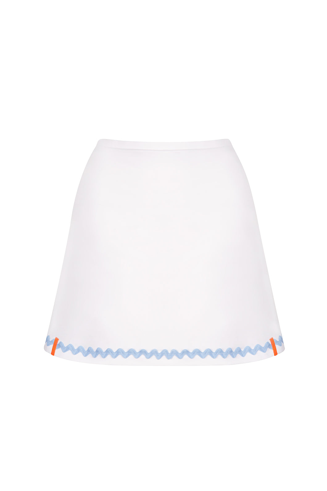 White Tennis Skort with Pale Blue Ric Rac Trim