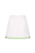 Load image into Gallery viewer, White Tennis Skort with Apple Green Ric Rac Trim