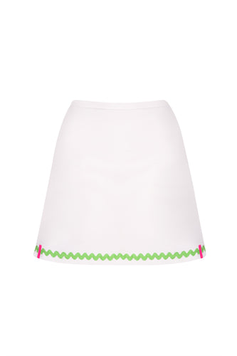 White Tennis Skort with Apple Green Ric Rac Trim