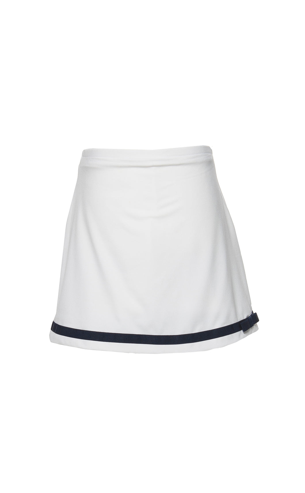 Girl's White Tennis Skort With Navy Trim