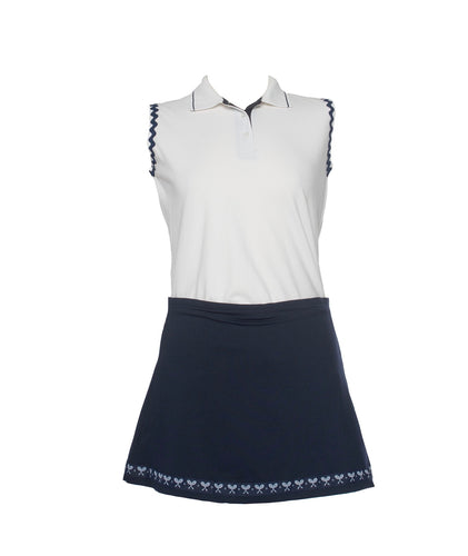 Sleeveless Polo with Navy Ric Rac
