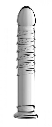 Master Series Ribbed Glass Dildo