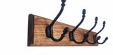 Solid Oak Wooden Coat Rack in multiple sizes - Teak finish -  Hooks Knobs