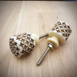 Resin Carved Cylinder Door / Drawer Knob -  Hooks Knobs