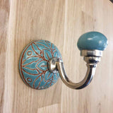 Turquoise Ceramic Hook -  Hooks Knobs