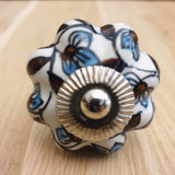 White Floral Pumpkin Ceramic Door / Drawer Knob -  Hooks Knobs