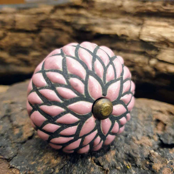 Pink Etched Ceramic Door / Drawer Knob -  Hooks Knobs