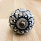 Grey Marble Ceramic Door / Drawer Knob -  Hooks Knobs