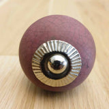 Plum Crackle Ceramic Door / Drawer Knob -  Hooks Knobs