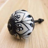 Black & White Ceramic Door / Drawer Knob -  Hooks Knobs