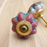 White & Plum Floral Pumpkin Ceramic Door / Drawer Knob -  Hooks Knobs