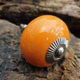 Orange Ceramic Door / Drawer Knob -  Hooks Knobs