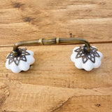 White Pumpkin Ceramic Knobs Cabinet Door Handle -  Hooks Knobs